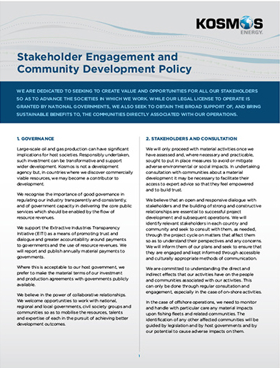 Stakeholder Engagement  and Community  Development Policy